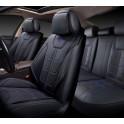 Мультимодельные авточехлы AUTOPREMIER DELUXE, черный/синий, эко кожа, карман, 10 мм поролон, 15 пред DEL1010