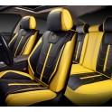 Мультимодельные авточехлы AUTOPREMIER DELUXE, черный/жёлтый, эко кожа, карман, 10 мм поролон DEL1900