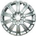 Колпаки декоративные 13 ТОРНАДО серебристый (пруж.) карбон  (2) (8) LW1333