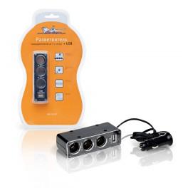 Разветвитель прикуривателя 3гнезда+USB, серый ASP-3U-07 ASP-3U-07