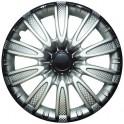 Колпаки декоративные 13 ТОРНАДО серебристо-черный (пруж.) карбон   (2) (8) LW1334