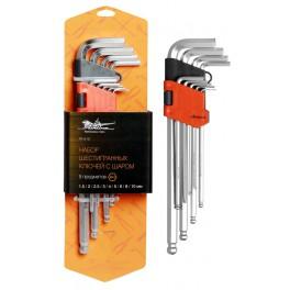 Набор шестигранных ключей удлинённых с шаром 9 предметов (1.5,2,2.5,3,4,5,6,8,10мм) пласт.подвес AT-9-15